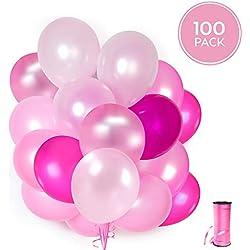 100 Globos rosas de látex + Cinta rosa + Soportes + Pegatinas de pared de globos | 5 colores mezclados | Fiesta rosa, Primera Comunion, Bautizo Niña, Boda, Cumpleaños | 30 centímetros | Helio o Aire