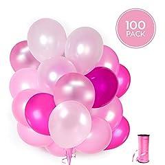 Idea Regalo - 100 Palloncini Rosa in Lattice + Nastro Rosa + Supporti + Adesivi da Muro per Palloncini | 5 Colori Misti | Pink Party, Matrimonio, Battesimo e Compleanno | 30 cm | Elio o Aria