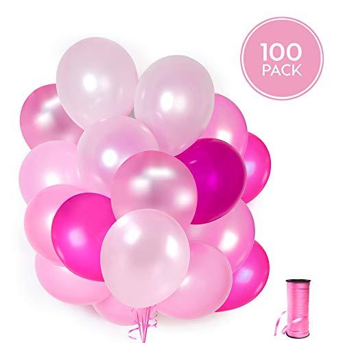 100 Rosa Latex Ballons + Rosa Band + Halter + Ballon Wandaufkleber | 5 gemischte Farben Luftballons | Pink Party, Hochzeit, Baby party und Geburtstag | 30 cm | Helium oder Luft