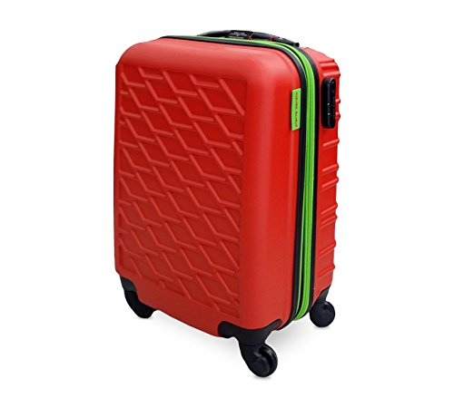 DFS519 Trolley rigido Pierre Cardin in ABS 4 ruote girevoli 52x37x23 cm. MEDIA WAVE store (Rosso)