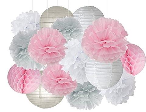 Furuix 15pcs Pink Grey White Party Decoration Kit Tissue Paper Pom Pom Honeycomb Ball for Bridal Shower Girls' Birthday Wedding Decoration Pink Baby Shower Room Decoration Party Favors