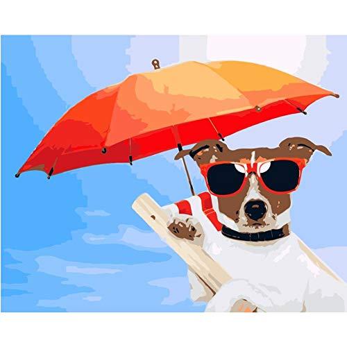 Hyllbb Hund Mit Sonnenbrille Halten Den Regenschirm Diy Gemälde Von Numbers Tier Handgemalte Leinwand Digitale Ölgemälde-40 * 50Cm,Without Frame