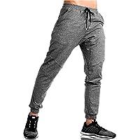 EKLENTSON - Pantalones de chándal elásticos para Hombre, algodón, con Cremallera, para Correr, Hombre, Color Plateado, tamaño UK 32