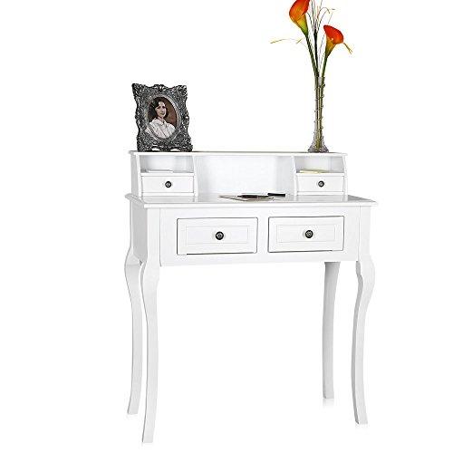 Melko Sekretär / Schminktisch im Landhaus Stil mit Schubladen 87,5 x 40 x 103 cm weiß