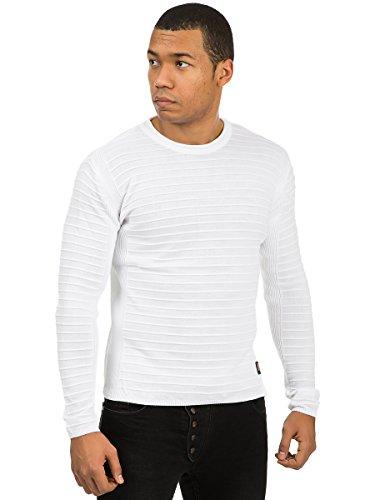 Carisma Herren Strickpullover Pullover Pulli Rillen Vintage Optik Weiß