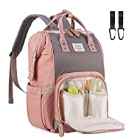 Baby Bag Changing Backpack Waterproof - Acdyion Travel Multi-Function Large Nappy Bag with Insulated Pocket for Mom (Pink & Grey)