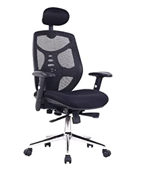 Eliza Tinsley Mesh High Back Executive Swivel Desk Armchair with Chrome Base - Black - low-cost UK chair shop.