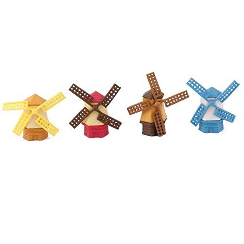Lot de 4pcs Moulin à Vent Miniature Décoration pour Micro Paysage Jardin de Fée Bonsaï Bricolage