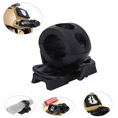 Helm Taschenlampe Halter Halterung - Tactical Airsoft Schnellverschluss Taschenlampe Clamp Fit FAST Helm Schiene - Portable Kunststoff Taschenlampe Halterung Taschenlampe Halter Halterung für Helm -