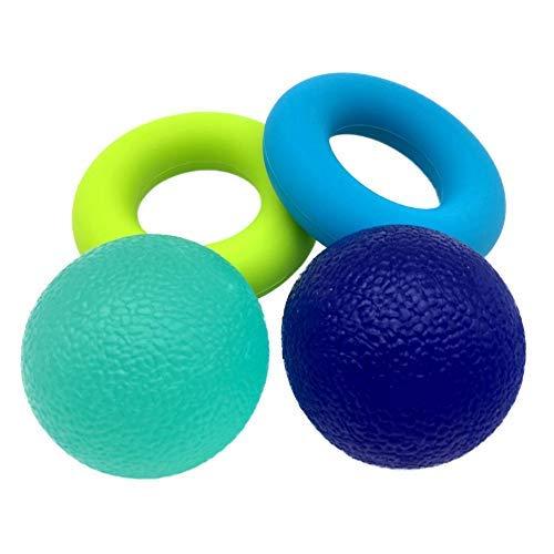 Mano Strengthener Anillo de agarre y Squeezer Ball para la fuerza de los dedos y alivio del estrés Ejercitadores de dedos de silicona y manos fortalecimiento herramienta de entrenamiento - Dedo de la artritis Kit de fisioterapia