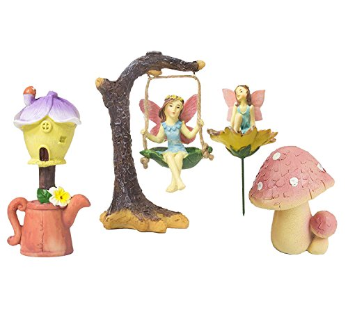 Fairy Garden - 4 game miniature fairy figures with accessories, garden decorations for outdoor, lawn, and home decoration