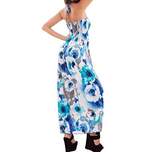 Toocool - Vestito donna abito lungo maxi fiori elastico ampio laccetto sexy nuovo AS-2298 Ottanio