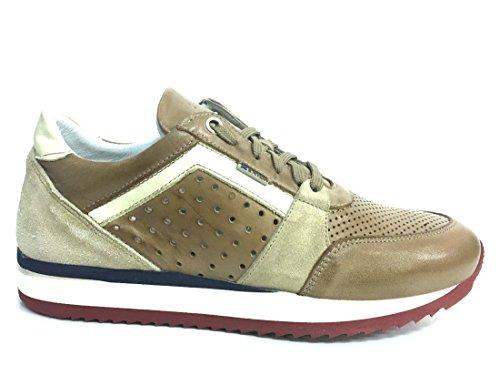 Exton 558 mostarda scarpa uomo sneaker running pelle made in italy pelle