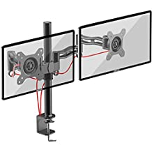 Duronic (Certified Refurbished) DM352 /BK Dual PC Monitor Arm Stand Desk Mount Screen Bracket Clamp Double/Twin | LCD | LED | Tilt and Swivel (Tilt ±15°| Swivel 180°| Rotate 360°)