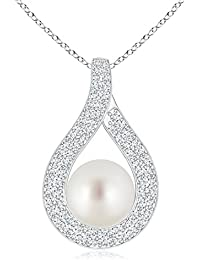 Open Loop South Sea Cultured Pearl Pendant Necklace with Diamond