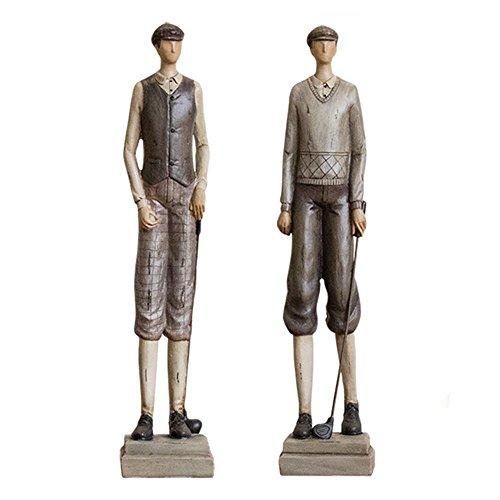 Sculpture Deux Golfeurs Statue Résine Europe Art Moderne Ornement Divertissement Décor Table Basse...