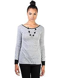 KRISP Damen Sweatshirt Rückenausschnitt Inkl Modeschmuck