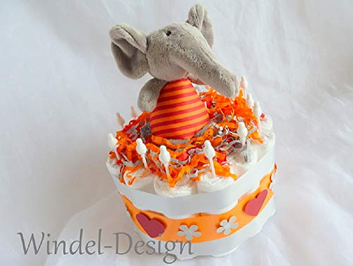Pañales para tartas, elefante, kidsundkisten nacimiento o bautizo, en deseos con felicitación kärtchen