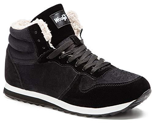 Gaatpot Zapatos Invierno Botas Forradas de Nieve Zapatillas Sneaker Botines Planas para Hombres Mujer Negro EU 46 = CN 48