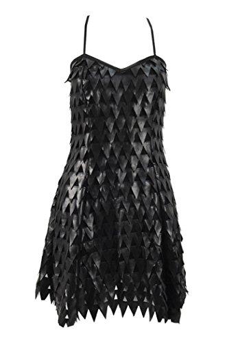 QianQian Damen Mädchen Kleid Sexy PU-Leder Klammern Rock Cosplay Kostüm (XS, Schwarz)