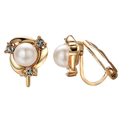 Yoursfs Groß Perlen Ohrclips mit 18K Weißegold Überzogene Elegante Blumen Valentinstage Geschenk für Damen Frauen Mädchen