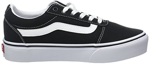 Vans Ward Platform Canvas, Scarpe da Ginnastica Basse Donna, Nero ((Canvas) Black/White 187), 41 EU