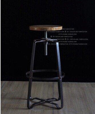 Ascenseur en spirale en fer forgé Vintage tabouret de bar tabourets de bar en bois massif ,55cm de haut