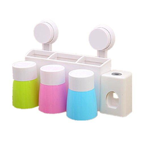 Dispensador Automático de Pasta de Dientes y Conjunto de Portacepillos de Dientes, Soporte de Cepillo de Dientes con Ventosa Conjunto de Almacenamiento de Cepillo de Dientes Accesorios de Baño (3 Tazas)
