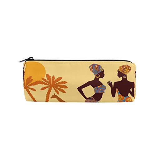 DEZIRO Afrikanische Frauen Tropische Giraffe Elefant Trommel Studenten Schreibwarentasche Tasche Reißverschluss
