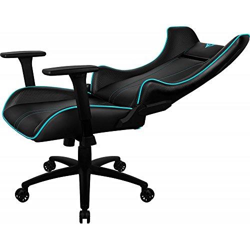 ThunderX3 UC5HEX - Silla gaming profesional (7 colores RGB, 3 efectos, altura regulable, respaldo ajustable 180 grados, reposabrazos 3 direcc, reposacabezas y almohada lumbar) color negro y cyan