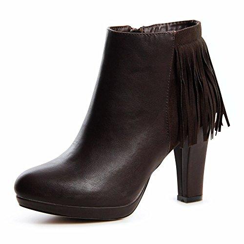 Topschuhe24 638 plateau ankle boots bottines femme Marron - Marron