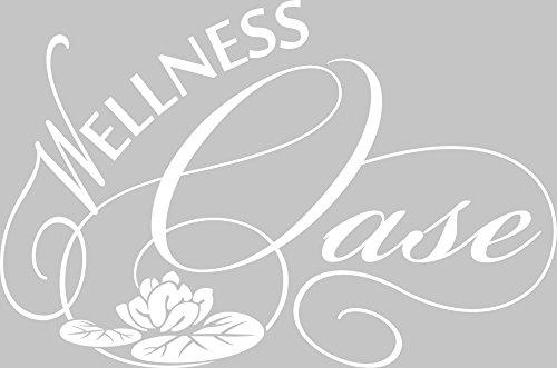 GRAZDesign 650236 Wandtattoo Wellness Oase mit Seerose für Bad | Badezimmer-Aufkleber für Nassbereich | Tür-Aufkleber WC
