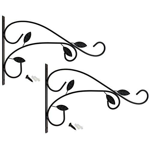 com-four® 2X Wandhalterung aus pulverbeschichteten Stahl für Blumenampeln und Windspiele, mit Schrauben und Dübel (2 Stück - Blätter)