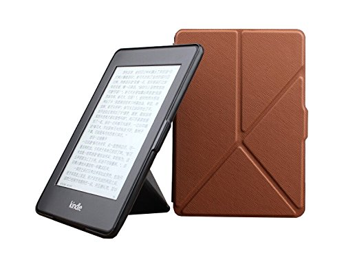 Taslar(TM) Kindle Paperwhite Origami Case - The Thinnest and Lightest Leather Cover for All-New Amazon Kindle Paperwhite (Fits All versions: 2012, 2013, 2014 and 2015 New 300 PPI), Brown