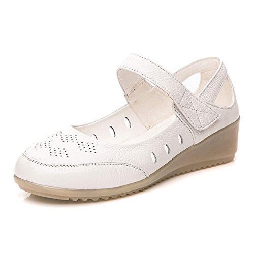 KALENDS Ladies Genuine Leather Plus Size Buckle Wedge Flat (Plus Sale Size Clearance)