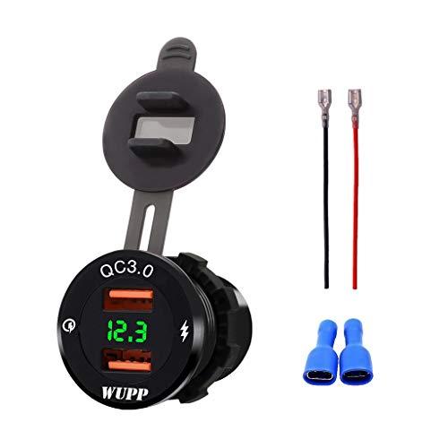 FangWWW 12 V/24 V alluminio impermeabile Dual QC3.0 USB caricabatterie rapido presa di corrente con voltmetro LED per auto, barca, moto, camio