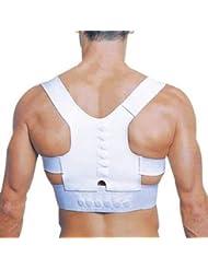 Rückenstützgurt mit Magneten Weiß als Haltung Stabilisator, Rückenbandage mit Stabilisierungsfunktion zur Reduzierung Schmerzen im Rücken
