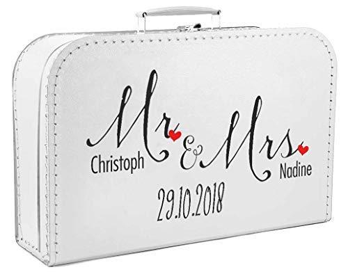 Livingstyle & Wanddesign Personalisierter Koffer zur Hochzeit in weiß mit Mr & Mrs