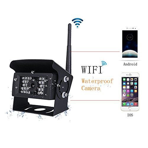 Podofo Digital Wifi Rückfahrkamera Wasserdichte Nachtsicht mit Backup-Linie Monitor Kit kompatibel mit iPhone / iPad und Android für Trailer, RV, Trucks (Guide Line Optional) -