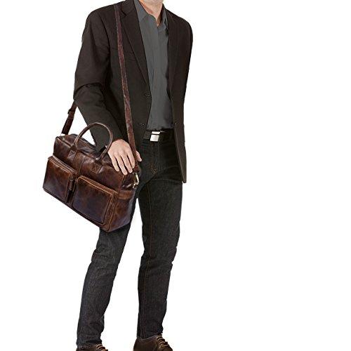 STILORD Henri Borsa ufficio lavoro in pelle Cartella uomo donna con tracolla Porta documenti e PC 15.6 pollici Grande in cuoio, Colore:cognac marrone scuro marrone antico