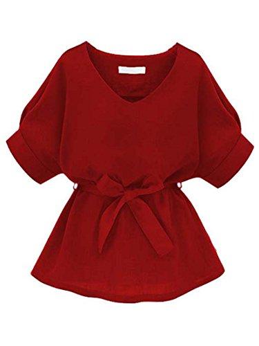 ROMWE Damen Kurzarm Bluse mit Schleife am Taille Rot L