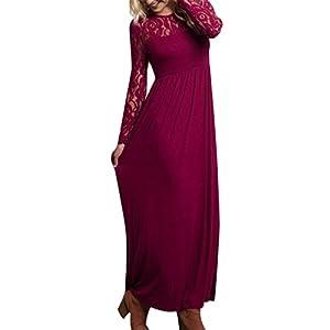 69145a29c90d7 Auxo Women Maxi Dress Round Neck Lace Long Sleeve High Waist Ball Gown  Evening Party Long Dress Cocktail