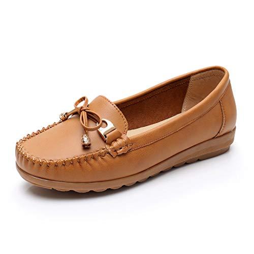Damen Solide Farbe Casual Schuhe Women's Freizeit Elegant Niedrigem Erbsenschuhe Bootsschuhe Loafers Halbschuhe Frauen Comfort Fahren Schuhe Plattform Segelschuhe -