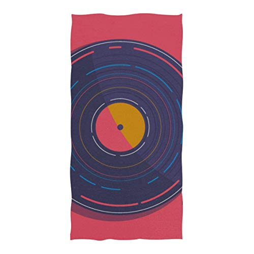 WOCNEMP Mikrofaser Reise Strandtuch Türkis Grammophon Plattenspieler Mikrofaser Handtuch Für Reise Schwimmen Camping Yoga Sport 37x74 Zoll Strandtuch Übergroß