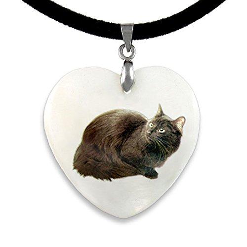 Timest - Angora Katze Perlmutt Anhänger mit Samtkette (Herz Angora)
