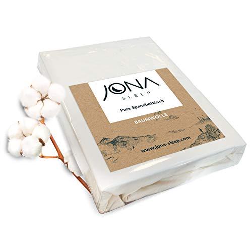 JONA SLEEP Topper-Bezug Spannbetttuch 180x200 Baumwolle Öko Tex Spannbettlaken mit Rundumgummi Matratzenauflage weiß Jersey Bettlaken für Boxspringbett Waschmaschinen-geeignet (weiß, 180 x 200 cm)
