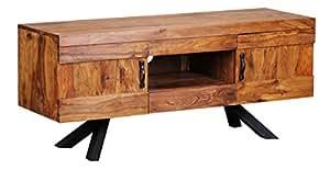 WOHNLING Lowboard Massivholz Sheesham Kommode 135 cm TV-Board Ablage-Fach Landhaus-Stil 2 Türen und Schubladen Unikat Echt-Holz Hifi-Rack 58 cm hoch Sideboard Deko Fernsehschrank offen Natur-Produkt