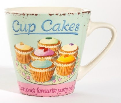 Martin Wiscombe 1-Piece Stoneware Large Mug Cupcakes, Assorted Colors