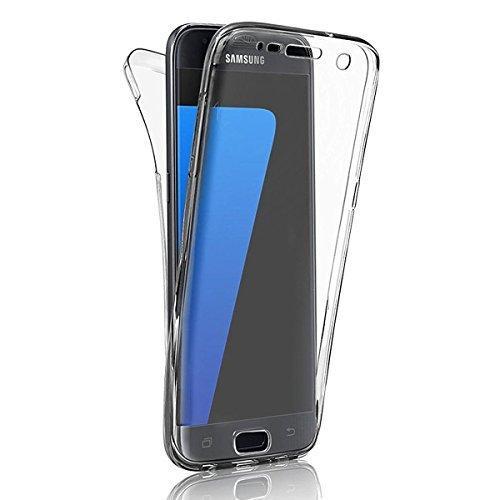 Samsung S8 2017 Hülle Silikon SevenPanda Transparent 360 Grad [OneFlow Double Cover] Handyhülle Durchsichtig Schutzhülle für Samsung Galazy S8 Case Dünn Silikonhülle Grau Tasche - Weiß