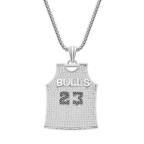 Männer Hip-Hop Iced Out Kette Bling Strass Basketball No. 23 Jersey Anhänger Halskette Sport Rock Schmuck,Silver